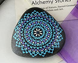 Hand Painted Alchemy Stone with Turquoise, Purple and Blue Mandala Design