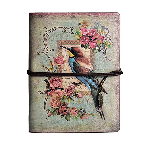 - Vintage Refillable Journal, MALEDEN Premium Leather Traveler Notebook Sketchbooks Classic Diary Planner with Blank Pages and Zipper Pocket (Bird)