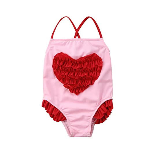 6502b1efc4a1a Amazon.com: Newborn Baby Girl Floral Swimsuit Heart Ruffles Bathing Suit  Bikini Straps Swimwear for Baby Girls Beach Wear: Clothing