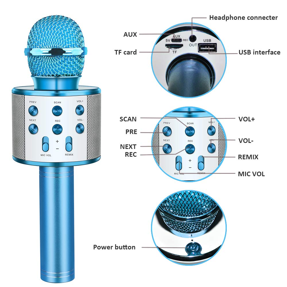 Kids Microphone Wireless Bluetooth, TOP TOY New Toys for 4-15 Year Old Boys Girls Wireless Karaoke Mic Machine Bluetooth for Kids Adults Hot Gifts Singing Games for Kids Teen Boys Girls Blue TTMP04 by ATOPDREAM (Image #4)