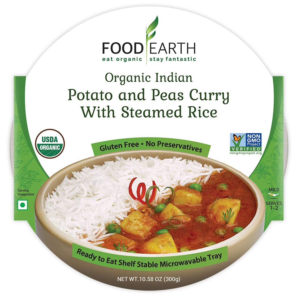 Food Earth Organic Indian Potato & Peas Curry with Steamed Rice - Ready to Eat Meals - Indian Food - Organic Microwaveable Meals - Pre Prepared Meals - (6 PACK)