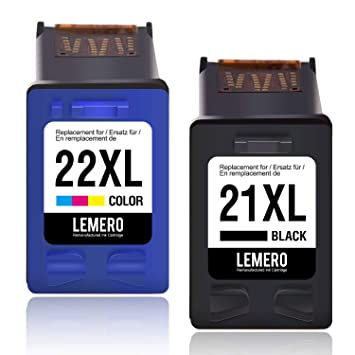 2 LEMERO Remanufacturado Cartuchos de Tinta para HP 21 XL 22 XL para HP Deskjet F2180 F350 F370 F375 F380 F385 F390 F394 F4100 F4135 F4140 F4150 F4172 ...