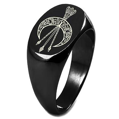 Sterling Silver Artemis Greek Goddess Of Moon Symbol Engraved Oval