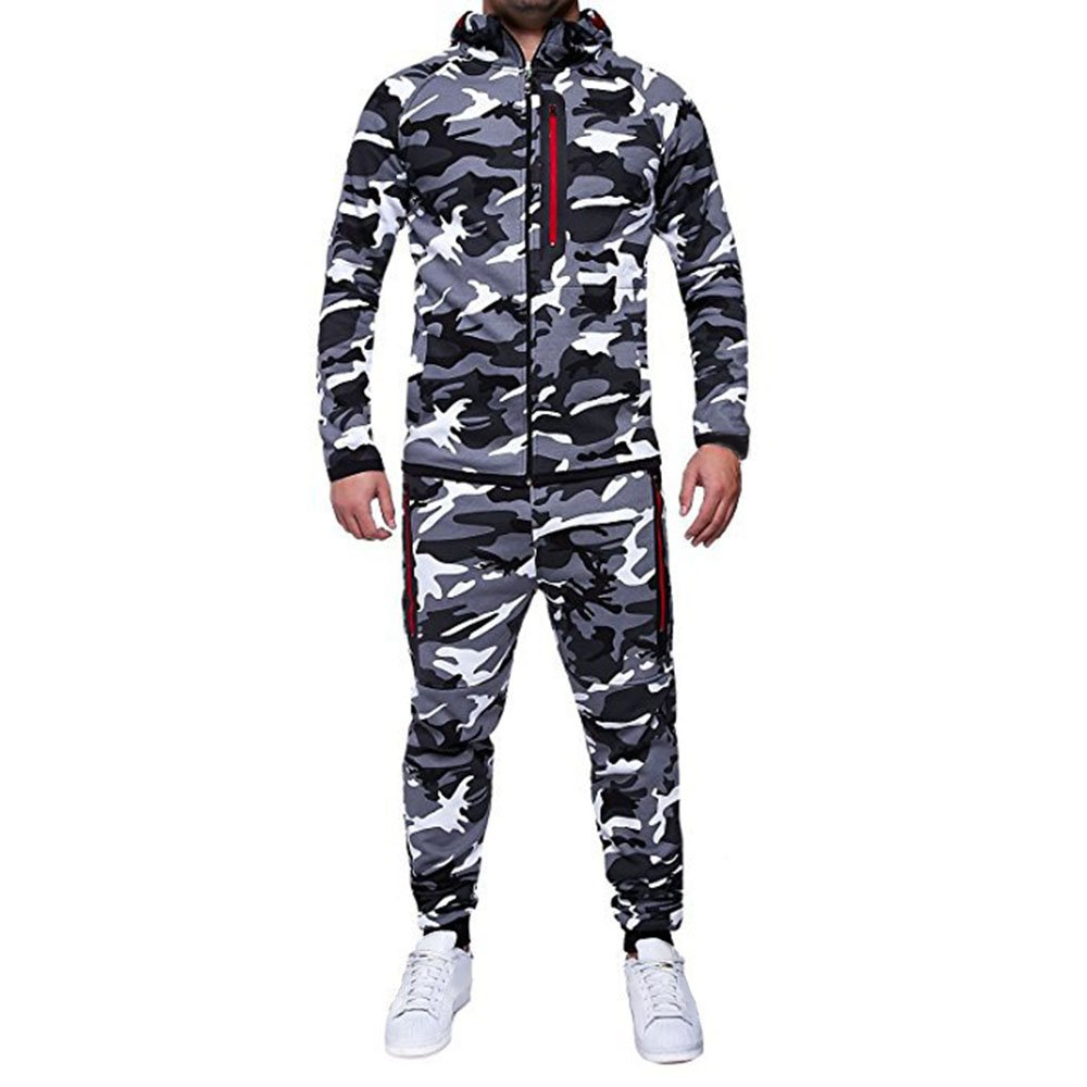 Rera Tracksuits Mens Hoodie Zip up Top Joggers Set Autumn Winter Camouflage Adult Jogging Suit