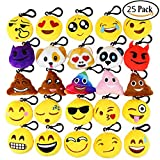 "Toys : Dreampark Emoji Keychain Mini Cute Plush Pillows, Key Chain Decorations, Kids Party Supplies Favors, 2"" Set of 25"