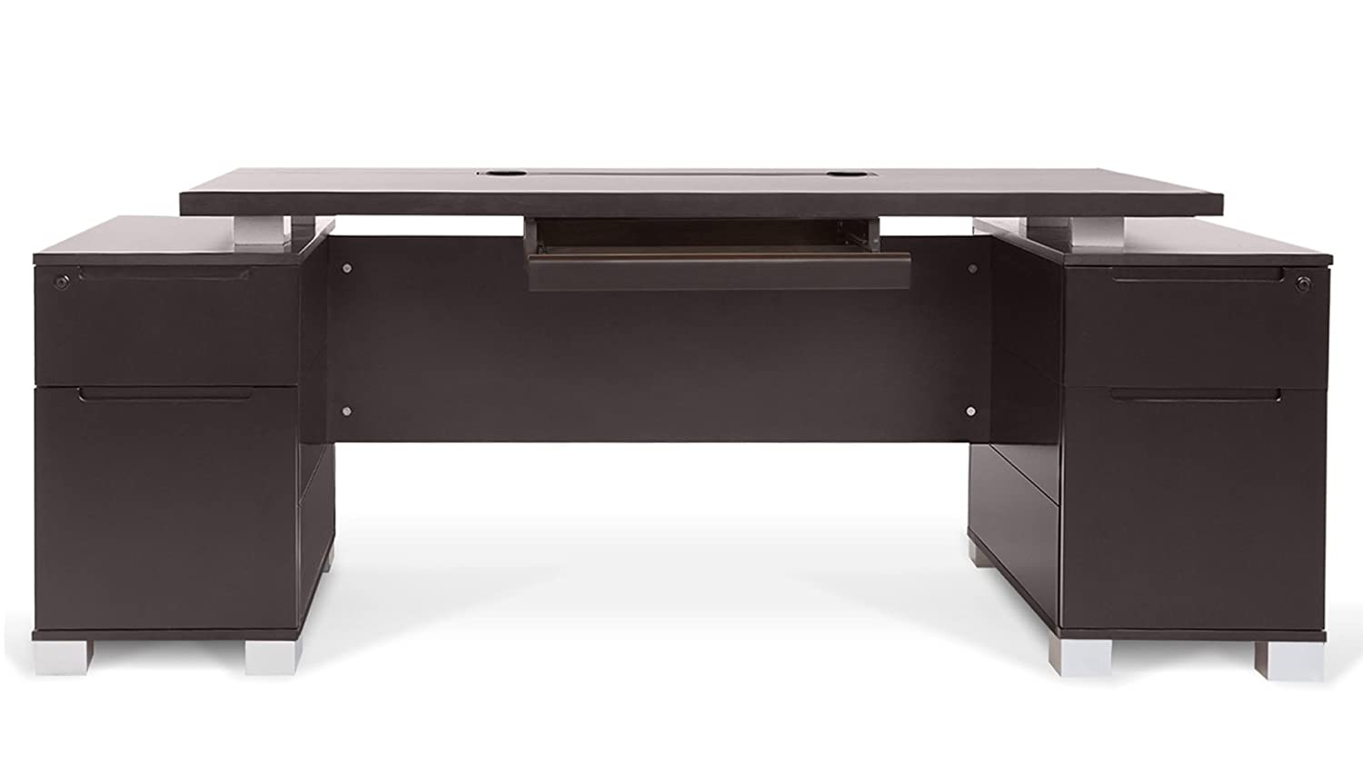 Amazon.com: Ford Executive Modern Desk With Filing Cabinets   Dark Wood  Finish: Kitchen U0026 Dining