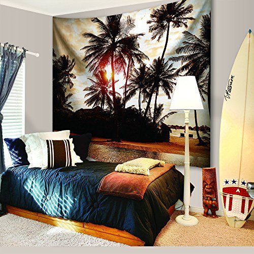 Green Nature Tapestry Decor By IMEI, Wild and Free Trees Wall Hanging Tapestry Bedspread Dorm Accessories Decor Beach Throw (80 X 60 Inch, Palm Tree in Sunset)