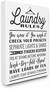 Stupell Industries Laundry Rules with Hanger Typography Oversized Stretched Canvas Wall Art, Proudly Made in USA
