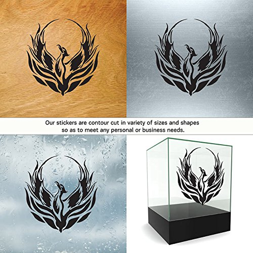 Animals Birds Colors & Sizes Variations Vinyl Sticker Decal Phoenix Rising from The Fire ATV Car Garage Bike (5 X 4,74 in.) Vinyl Color White