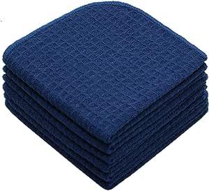 Mia'sDream Microfiber Waffle Weave Kitchen Towels Dish Cloth, Navy Blue-6p, 12inch X 12inch