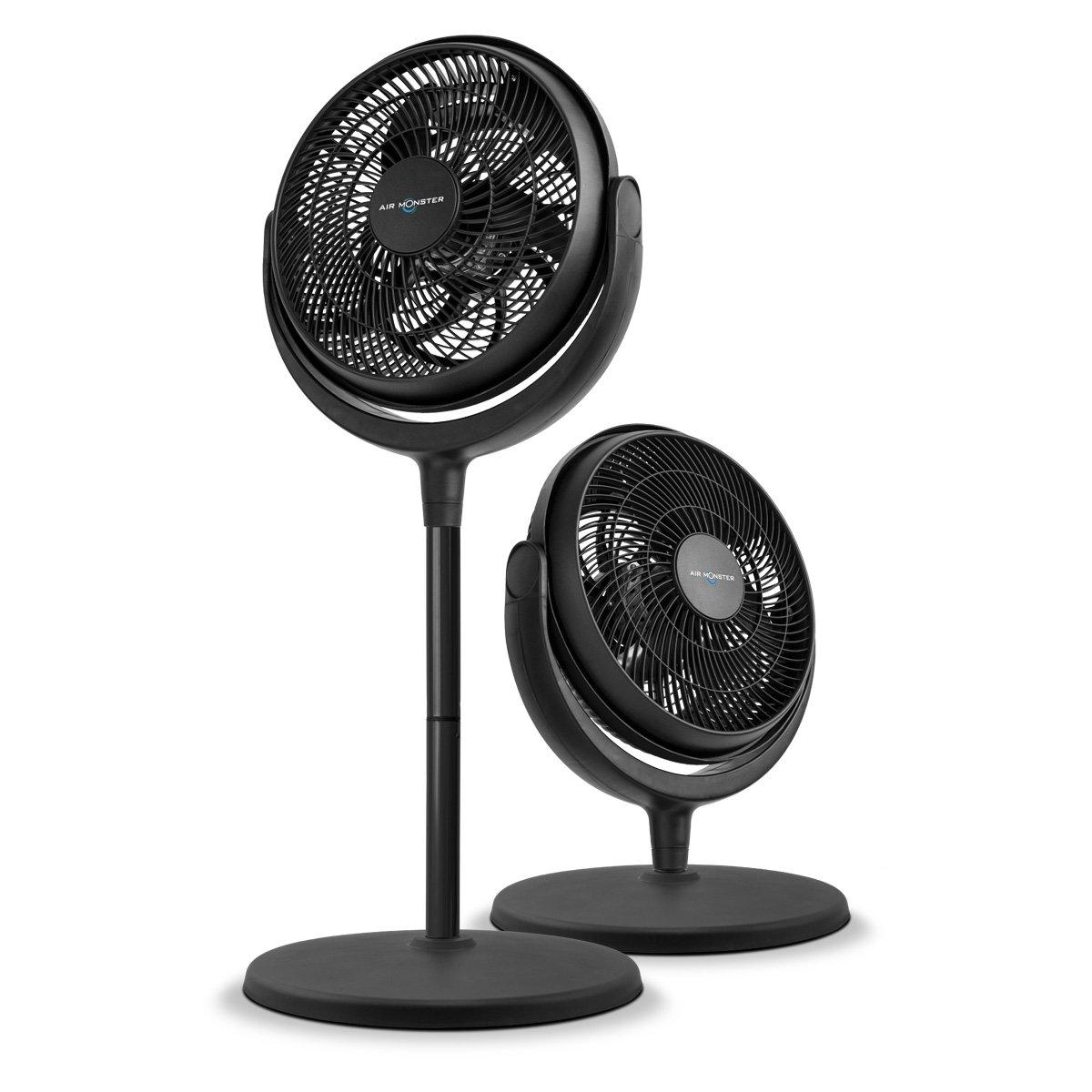 Air Monster Power Stand and Floor Fan – 12 Inch | Floor Fan | Stand Fan | Air Circulator, 3 Speed Settings, Adjustable Tilt – ETL Listed, Black