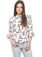 Vvoguish White Butterfly Print Top at amazon