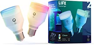 LIFX Clean, A19 1100 lumens, Full Color with Antibacterial HEV, Wi-Fi Smart LED Light Bulb, No Bridge Required, Works with Alexa, Hey Google, HomeKit and Siri (2-Pack)