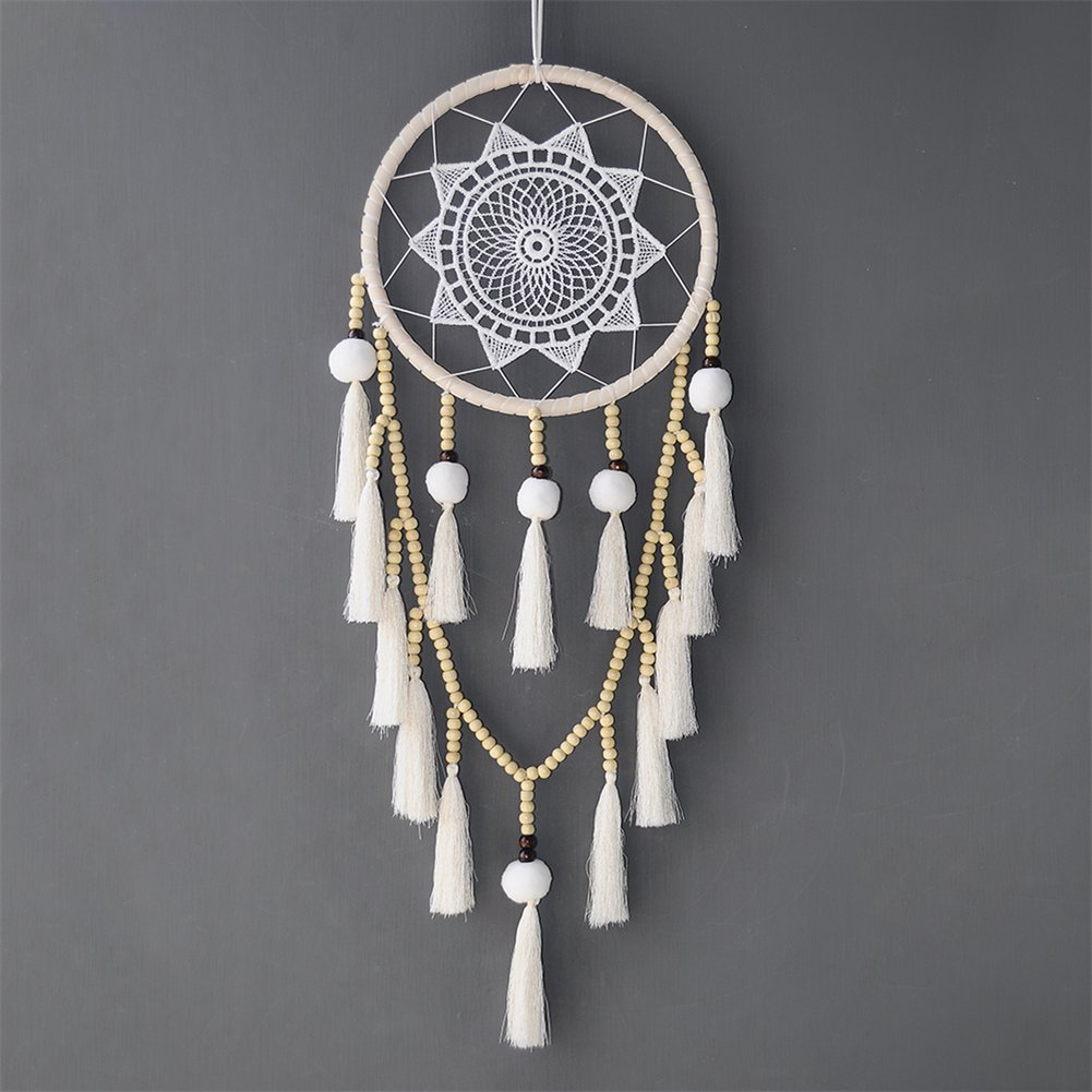 Macrame Wall Hanging Dream Catcher - MITU Large Natural Cotton Cord (Beads with tassel)