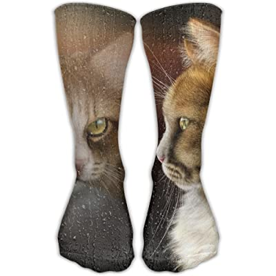 Unisex Tube Socks Crew Cats Look Window Soccer Comfort Over The Calf Stockings For Sport And Travel