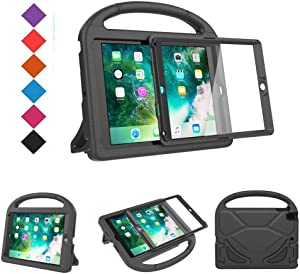 BMOUO Kids Case for New iPad 9.7 2018/2017 - Built-in Screen Protector Shockproof Light Weight Handle Convertible Stand Case Cover for Apple iPad 9.7 Inch 2018 (6th Gen) / 2017 (5th Gen) - Black