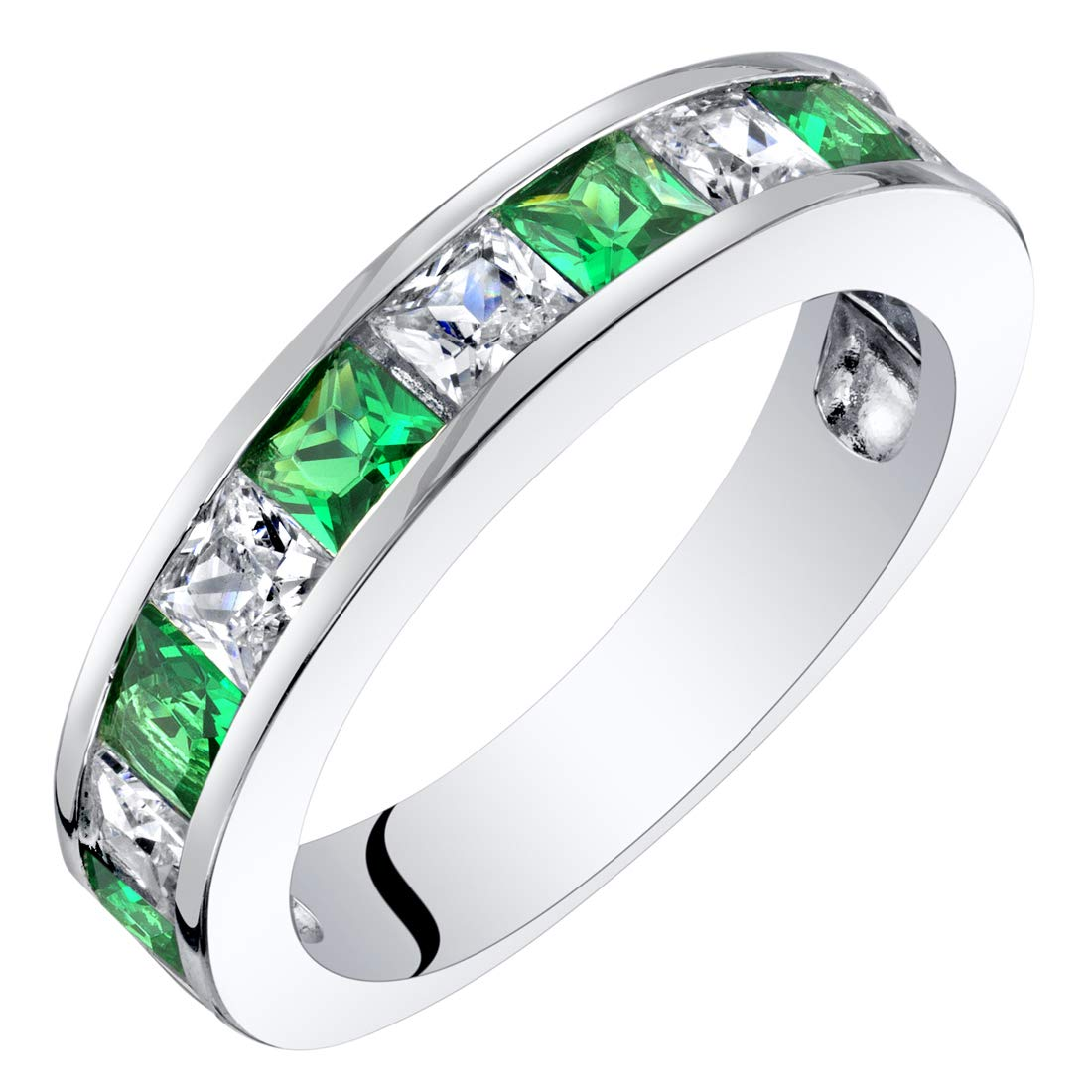Sterling Silver Princess Cut Simulated Emerald Half Eternity Wedding Ring Band Size 5 by Peora
