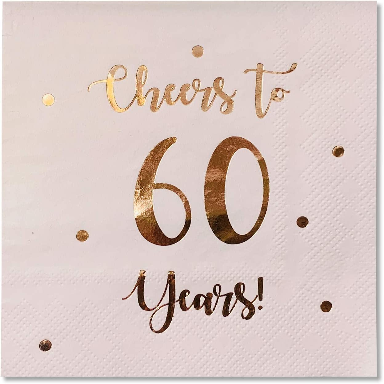 Cheers to 60 Years Cocktail Napkins | Happy 60th Birthday Decorations for Men and Women and Wedding Anniversary Party Decorations | 50-Pack 3-Ply Napkins | 5 x 5 inch folded (Pink)