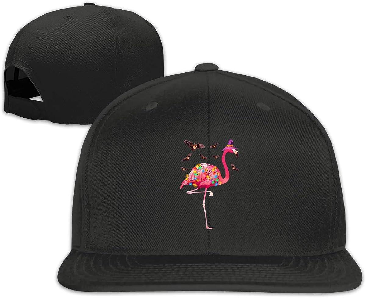 Three Flamingos Women Fashion Adjustable Flat Brim Baseball Cap Black