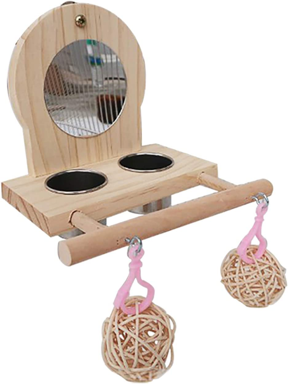 Tfwadmx Parrot Food Cups Stainless Steel Feeding Bowls Perch Stands with Mirror Toys Wooden Frames for Small Bird Macaw Budgies Parakeet Cockatiels Conure Lovebird Finch