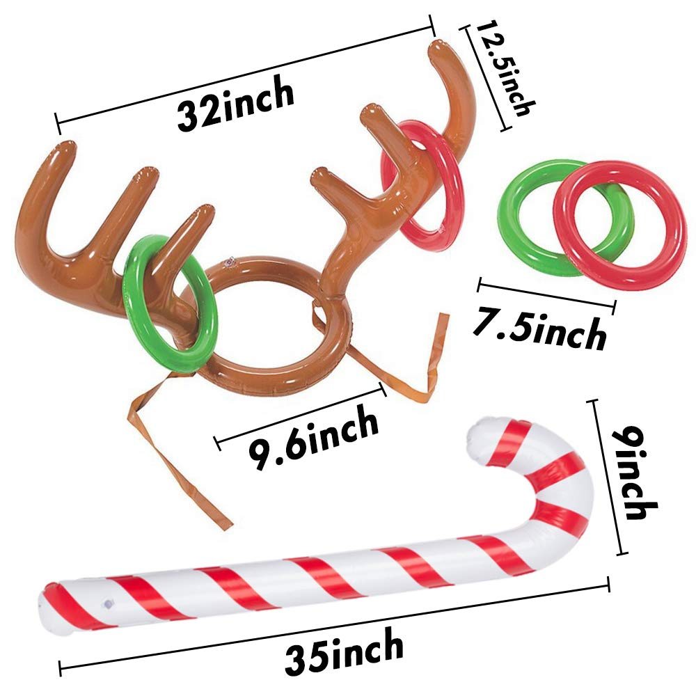 Koogel Inflatable Reindeer Antler Hat Ring Toss Game With Rings For Family Kids Christmas Party New Year Party Favors Toys Gifts