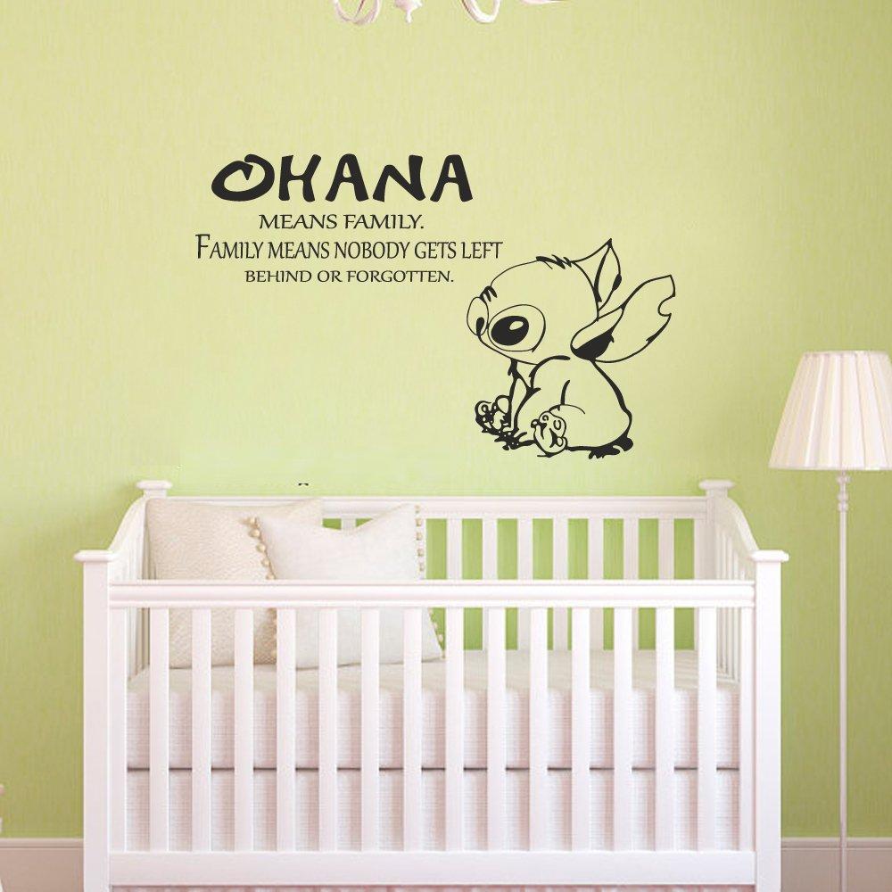 Ohana Means famiglia», nessuno è dietro o sinistra Forgotten-Lilo e Stitch Quote-da parete, Adesivi da parete per la camera dei bambini, la camera da letto, Vinile, nero, 29.5h x46w 29.5h x46w Battoo