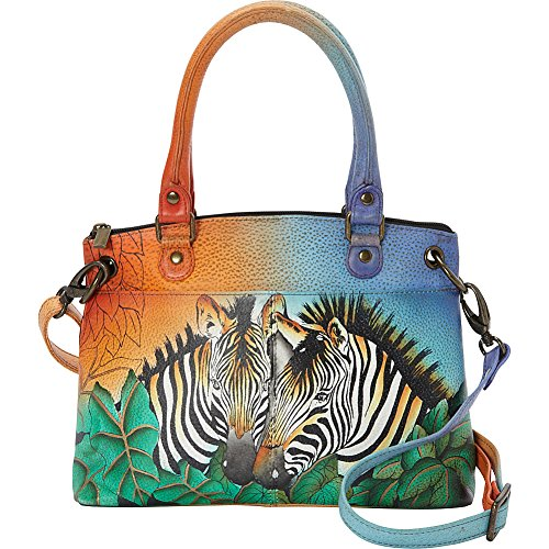 Anna by Anuschka Satchel Handbag | Genuine Leather | Zebra Safari ()