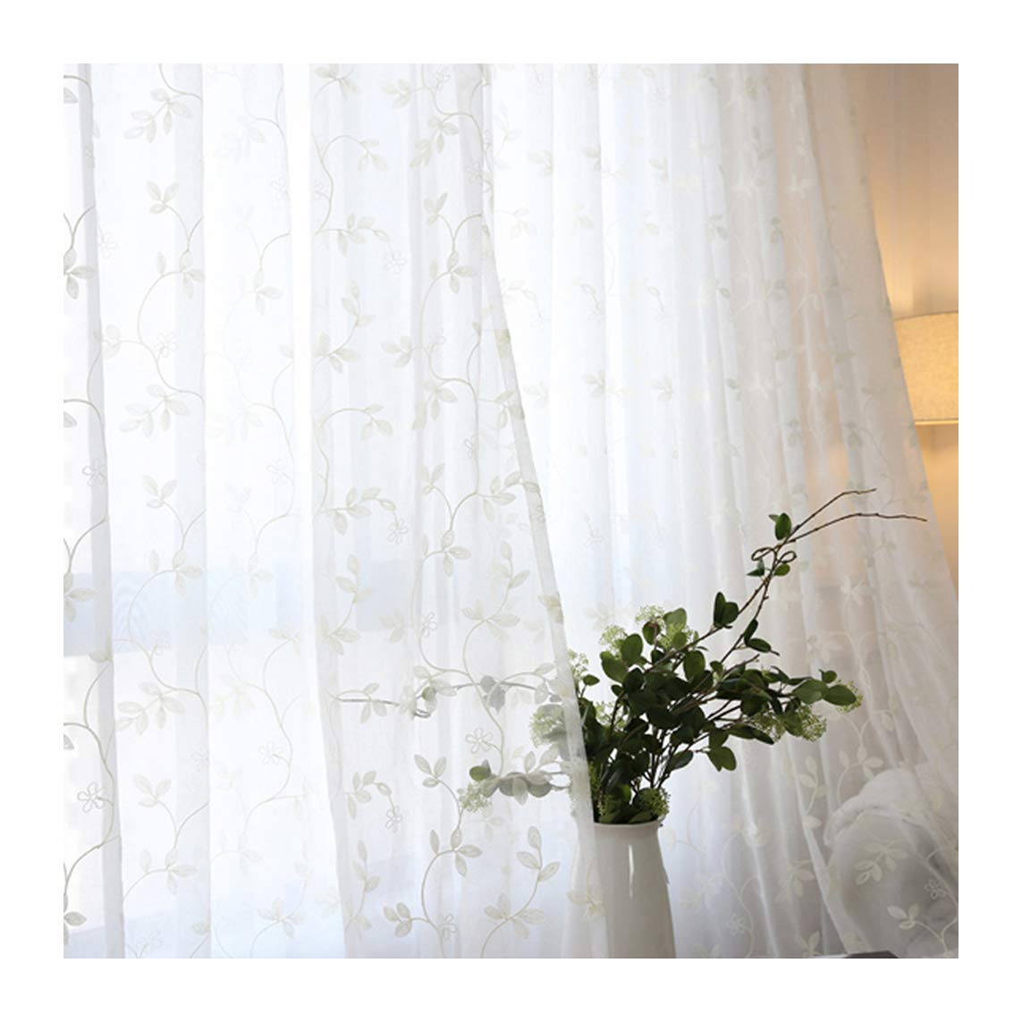 ASide BSide Transparent Window Decoration Lounge Style Rod Pocket Top Sheer Curtains Branch Blade For Children Room Sitting Room and Houseroom (1 Panel, W 52 x L 63 inch, White)