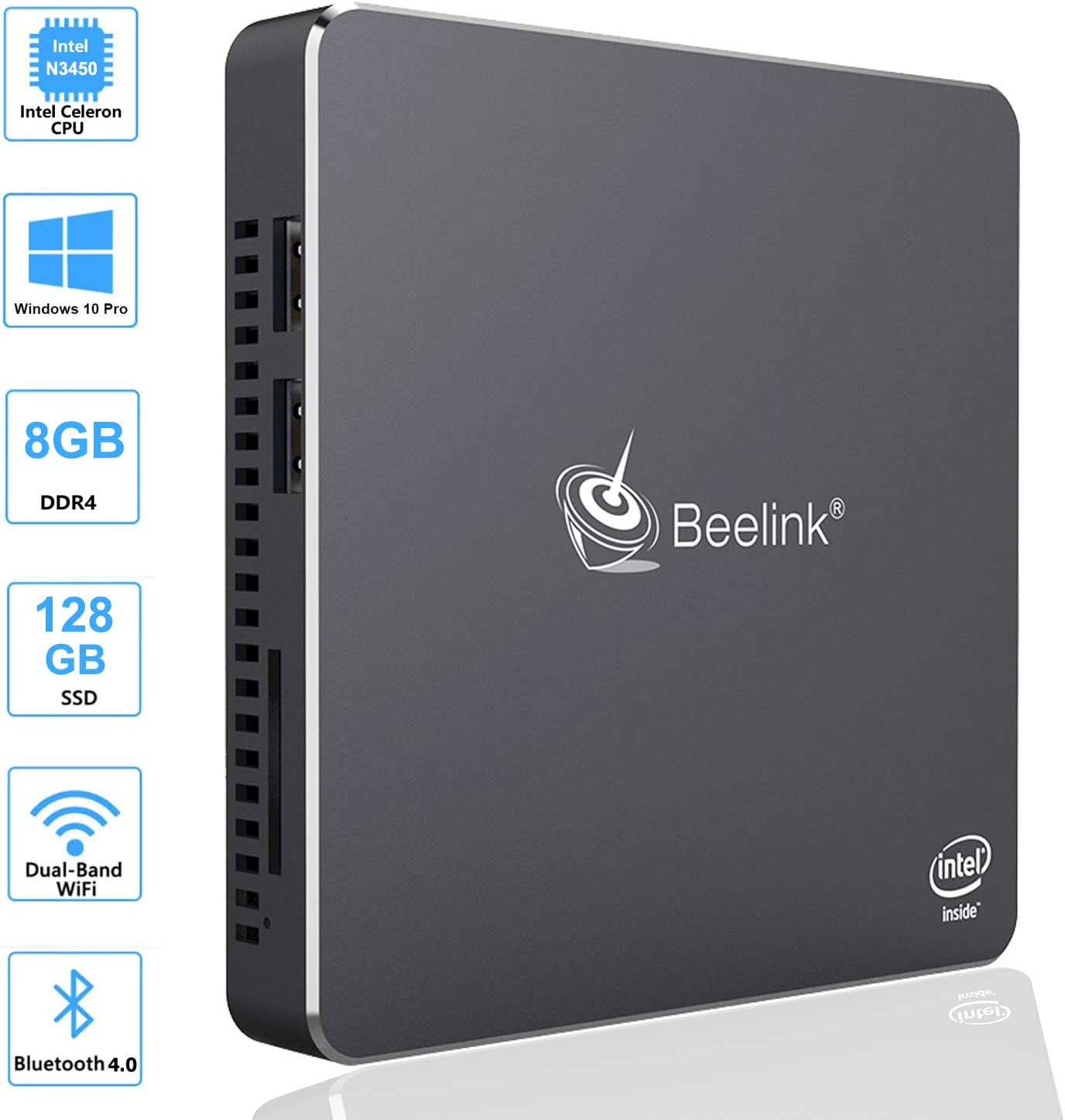 Beelink T34 Mini Pc Quad Core Intel Celeron N3450 Processor, Windows 10 Pro Mini Desktop Computer, 8GB DDR3/128GB SSD, 2.4G/5G Dual WiFi, Gigabit Ethernet, 4K HD Dual HDMI Ports, BT4.0