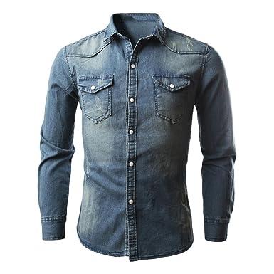 9125de788aa033 Luckycat Herrenhemden Retro Jeanshemd Cowboy Bluse Schlank Dünn Lange  Oberteile Pure Denim Tops (Blau