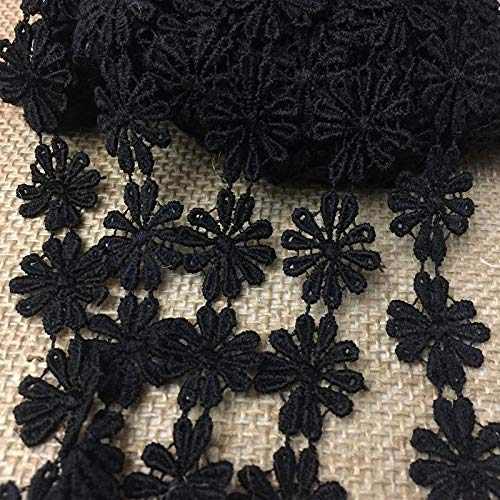 "Lace Trim Daisy Flower Venise Double Border, 1"" Wide, 3 Yards. Choose Color, Multi-Use Garments Bridal Waistband Decoration Crafts Veils Costumes, Black"