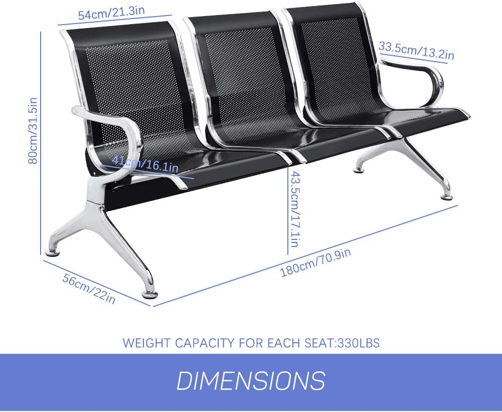 INTERGREAT 3 Seat Airport Reception Chairs Waiting Room Chair with Arms Silver Lobby Chairs for Business Office Hospital Bank Airport Market Metal Reception Bench Seating