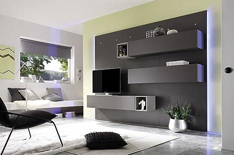 Parete attrezzata moderna di design, in legno e rovere grigio ...