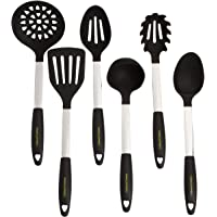 Culinary Couture Stainless Steel & Silicone Kitchen Utensils Set, Professional Grade Cooking Tools, Black, Bonus Ebook!