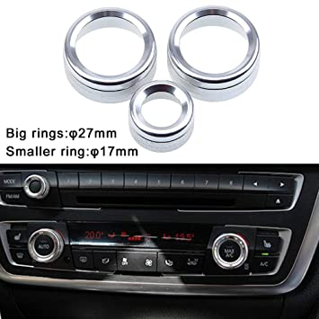 PolarLander 3Pcs//Lot Car Air Conditioning Rings Radio Volume Knob Ring Covers Decorative Circle Trim Low Match Red