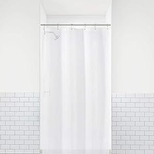 LiBa PEVA 8G Bathroom Small Shower Stall Curtain Liner, 36' W x 72' H Narrow Size, White, 8G Heavy Duty Waterproof Shower Stall Curtain Liner Anti-Microbial Mildew Resistant