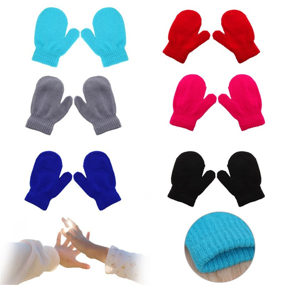 6 Pairs Cute Baby Kids Boys Girls Unisex Knitting Warm Soft Gloves Candy Colors Mittens