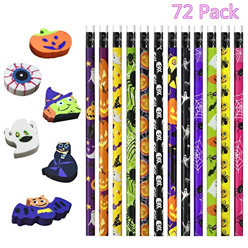 Halloween Different Games (U-Goforst 72 Pack Halloween Pencils and Erasers for Halloween Party Favors Trick Or Treat, Game Prizes, Classroom Rewards,, Halloween Goodies Bags Filler, 18 Different)