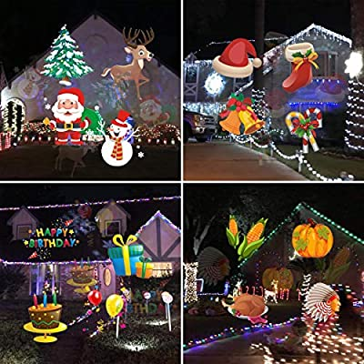Christmas Holiday Lights Projector, Waterproof IP65 Outdoor Indoor Motion Remote Control 10W LED Projector, 20 Slides Holiday Light Party Outdoor Garden House Apartment Kids Room Night: Home Improvement
