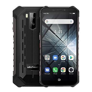 Smartphone IP68 impermeable a prueba de polvo a prueba de golpes, 5.5 pulgadas Android 9.0 MT6580 Quad Core 32bit hasta 1.3GHz, batería de 5000mAh, cámaras traseras dobles y desbloqueo facial, red: 3G: