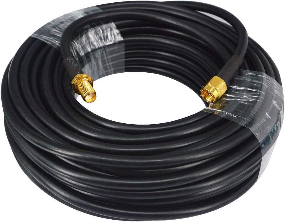 YILIANDUO SMA Cable SMA Macho a SMA Hembra Cable de Antena WiFi Cable de 15 Metros 50 ohmios Cable coaxial RG58 de Baja pérdida para alimentador inalámbrico Pigtail Se Adapta al enrutador