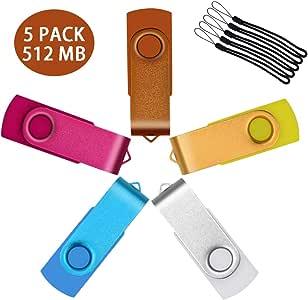 512 MB Memoria USB 2.0, Pack 5 Unidades de Colores Pendrives ...