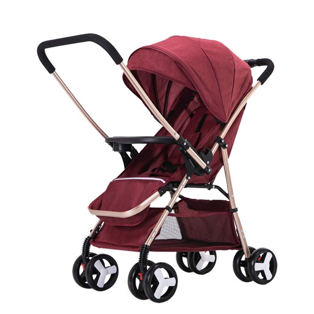 Cochecito de bebé de acero al carbono para 0-3 años de edad Sentado y acostado Sillón ligero para niños pequeños   con sistema de seguridad de 5 puntos   Asiento ajustable   Cesta de almacenamiento