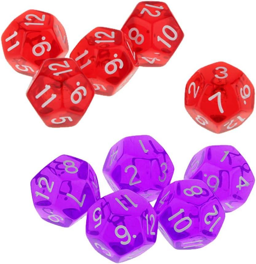 B Blesiya 10 Piezas Dados de 12 Lados Juegos de Mesa Accesorios: Amazon.es: Juguetes y juegos