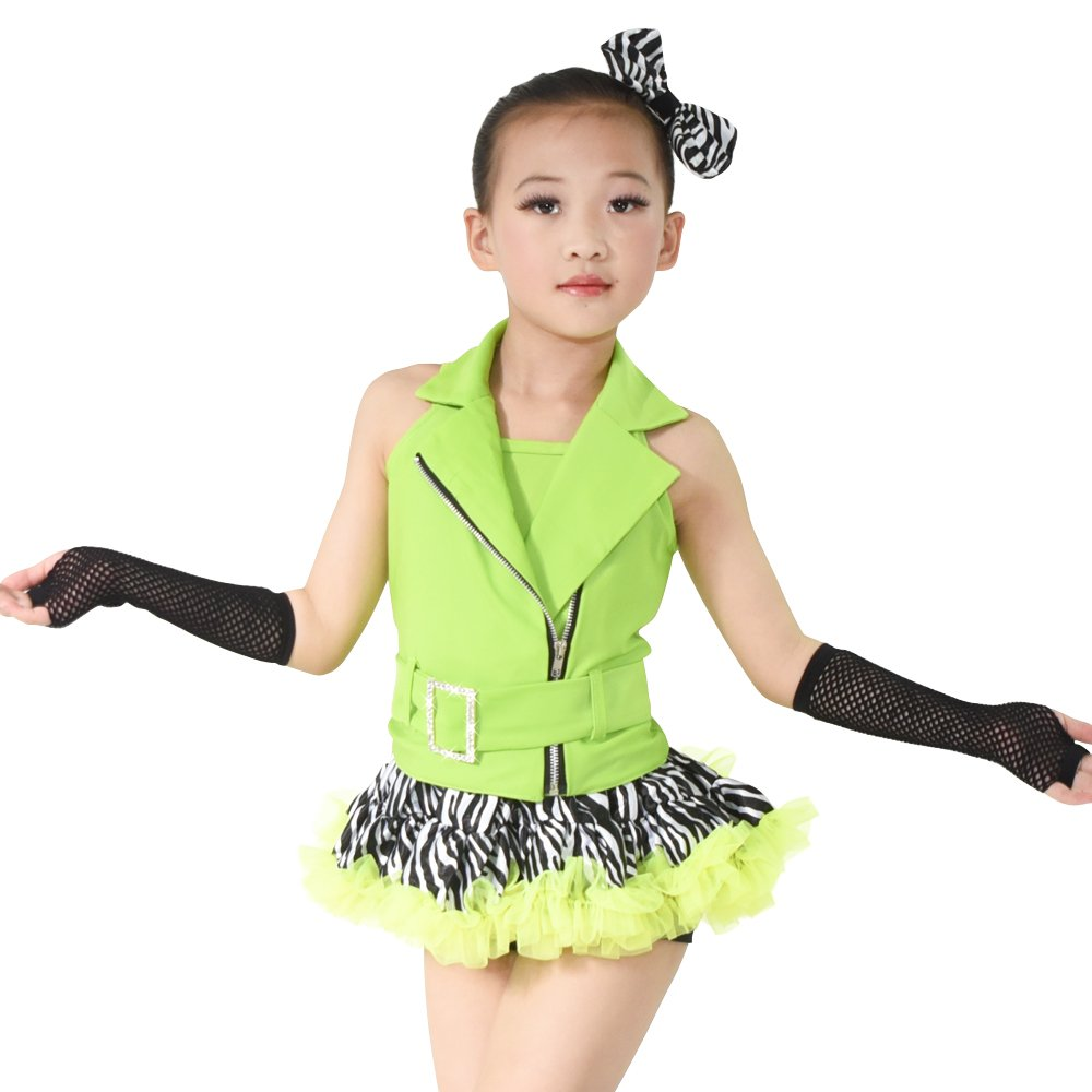 Mideeジャズダンス衣装ヒップホップOutfits for Girls 5ピースホルターZebraスカート B0716ML9ZJ アップルグリーン MC