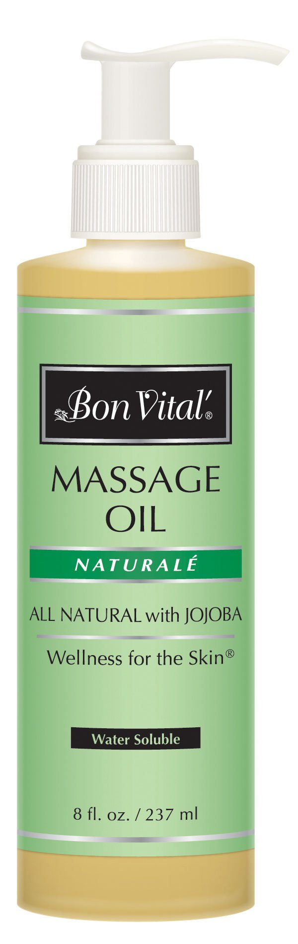 Bon Vital Naturale Massage Oil Made with Natural Ingredients for an Earth-Friendly & Relaxing Massage, Revives and Rehydrates Dry Skin Naturally, with Green Tea Extract for Added Skin Benefits, 8 Oz