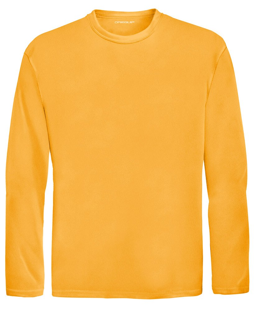DRI-EQUIP Youth Long Sleeve Moisture Wicking Athletic Shirts. Youth Sizes XS-XL, Gold, X-Small by Joe's USA