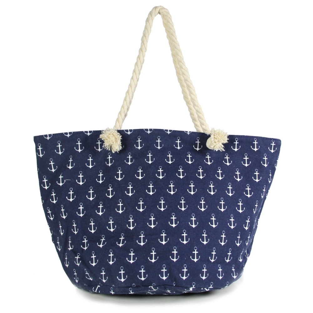 3e3567df4 Amazon.com: Me Plus Anchor Print Large Beach Tote Shopping Bag Zipper  Closure Strong Handles with Inner Pocket (Anchor Pattern-Navy): Shoes