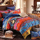 Abreeze 4-Piece 100% Cotton Duvet Cover Bohemia Ethnic Style Bedding Set King