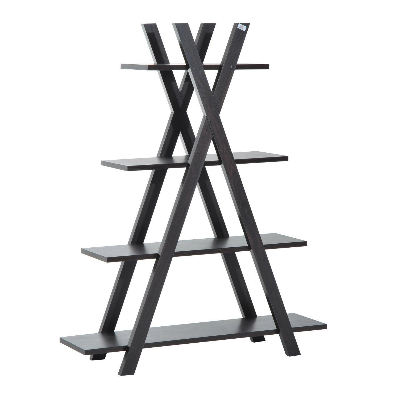 HOMCOM 4-tier Wooden Ladder Shelf Triangular Display Storage Rack Living Room Furniture Dark Coffee Sold By MHSTAR